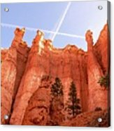Bryce Canyon Hoodoos With Contrails Acrylic Print