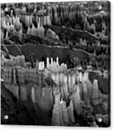 Bryce Canyon In Black And White Acrylic Print