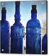 B's Blue Bottles Acrylic Print