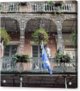 Bubbles Blow From An Ornate Balcony In New Orleans At Mardi Gras Acrylic Print
