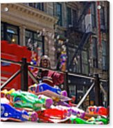 Bubble Gun Seller In New York Acrylic Print
