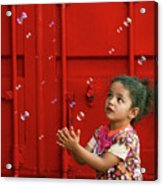 Bubbling Girl Acrylic Print by Aimelle