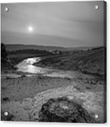 Bubbling Hot Spring In Yellowstone National Park Bw Acrylic Print