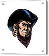 Buccaneer Eye Patch Scratchboard Acrylic Print