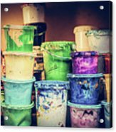 Buckets Of Liquid Paint Standing In A Workshop. Acrylic Print