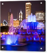 Buckingham Fountain At Night With Chicago Skyline Acrylic Print
