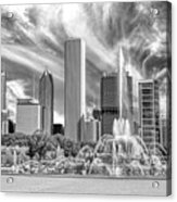 Buckingham Fountain Skyscrapers Black And White Acrylic Print