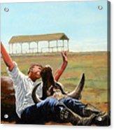 Bucky Gets The Bull Acrylic Print by Tom Roderick