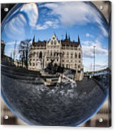 Budapest Globe - Houses Of Parliament Acrylic Print