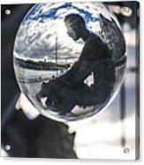 Budapest Globe - Statue Of Jozsef Attila Acrylic Print