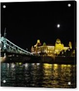 Budapest On The Danube At Night Acrylic Print