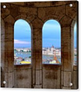 Budapest Parliament From The Fishermans Bastion Acrylic Print