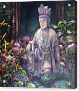 Budda Statue And Pond Acrylic Print