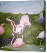 Buddah And The Flamingos Acrylic Print