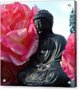 Buddha And Roses Acrylic Print