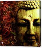 Buddha In Red Chrysanthemums Acrylic Print