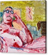 Buddha On The Phone One Of Four Acrylic Print