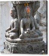 Buddha Statue At Temple - Swayambunat  Acrylic Print
