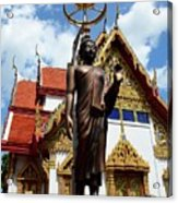 Buddha Statue With Sunshade Outside Temple Hat Yai Thailand Acrylic Print