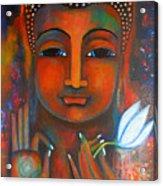 Buddha With A White Lotus In Earthy Tones Acrylic Print by Prerna Poojara