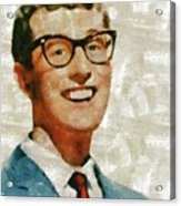 Buddy Holly By Mary Bassett Acrylic Print