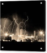 Budweiser Lightning Thunderstorm Moving Out Bw Sepia Crop Acrylic Print