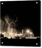 Budweiser Lightning Thunderstorm Moving Out Bw Sepia Acrylic Print by James BO  Insogna