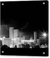 Budwesier Brewery Lightning Thunderstorm Image 3918  Bw Acrylic Print
