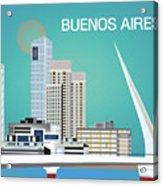Buenos Aires Argentina Horizontal Skyline - Blue Acrylic Print