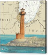 Buffington Harbor Lighthouse In Nautical Chart Map Acrylic Print
