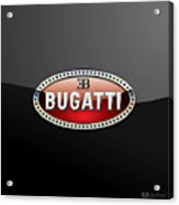 Bugatti - 3 D Badge On Black Acrylic Print