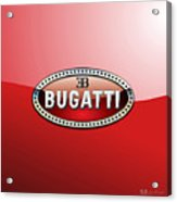 Bugatti - 3 D Badge On Red Acrylic Print