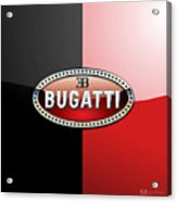 Bugatti 3 D Badge On Red And Black  Acrylic Print
