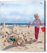 Builders On The Beach Acrylic Print