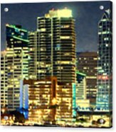 Building At Night With Lights Acrylic Print