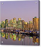 Buildings Lit Up At Dusk, Vancouver Acrylic Print