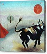 Bull With Sun Acrylic Print