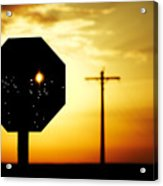 Bullet-riddled Stop Sign Acrylic Print