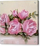 Bunch Of Pink Roses Painting Acrylic Print
