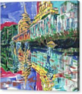 Bund In Shanghai, China, In Front Of The Custom House Clock Tower Acrylic Print