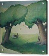Bunnies Running Under Trees Acrylic Print