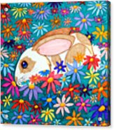Bunny And Flowers Acrylic Print