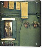 Burano - Green House Acrylic Print by Joana Kruse