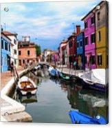 Burano Canal And Homes Acrylic Print