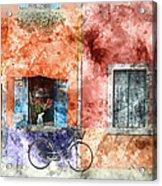 Burano Italy Digital Watercolor On Photograph Acrylic Print
