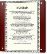 Burgundy Leaf Desiderata  Acrylic Print