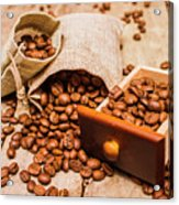 Burlap Bag Of Coffee Beans And Drawer Acrylic Print