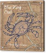Burlap Blue Crab Acrylic Print