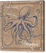 Burlap Octopus Acrylic Print
