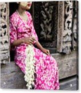 Burmese Flower Vendor Acrylic Print